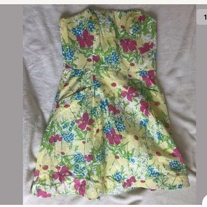 Lilly Pulitzer floral Dress A Line Tube Top Dress